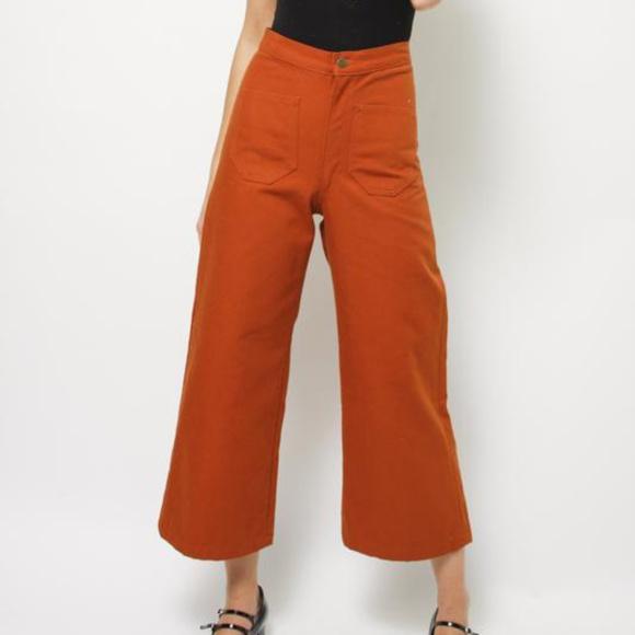 6c4b707b8fc0f Lykke Wolf Jeans | Rust Orange Brown Sandi Canvas Wide Leg Crop Pant ...